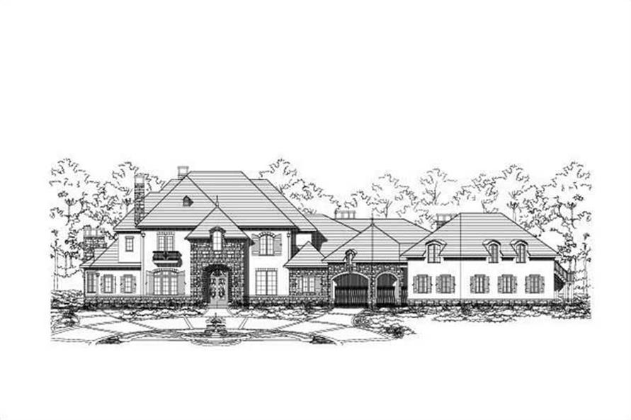 6-Bedroom, 8371 Sq Ft French House Plan - 156-2396 - Front Exterior