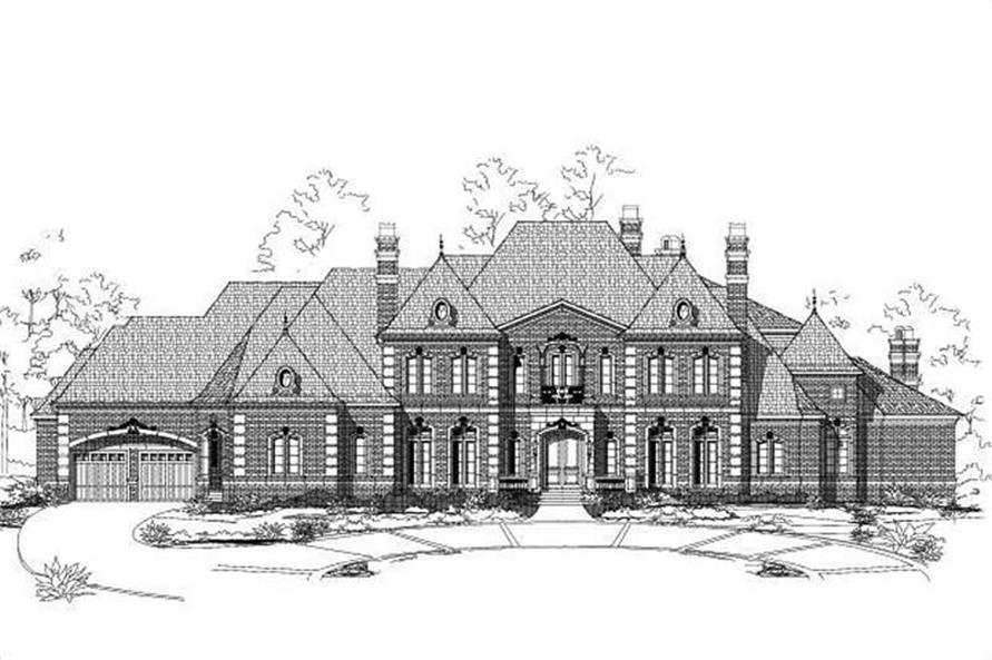 5-Bedroom, 9592 Sq Ft French House Plan - 156-2404 - Front Exterior