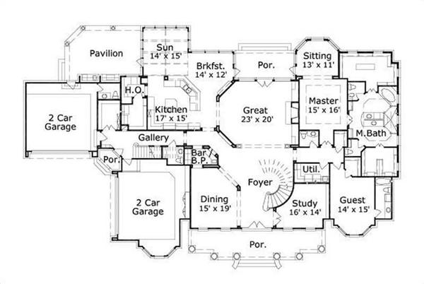 HOME PLAN NUMBER 20264 FIRST STORY FLOOR PLAN