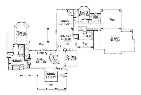 HOME PLAN NUMBER 653 FIRST STORY FLOOR PLAN