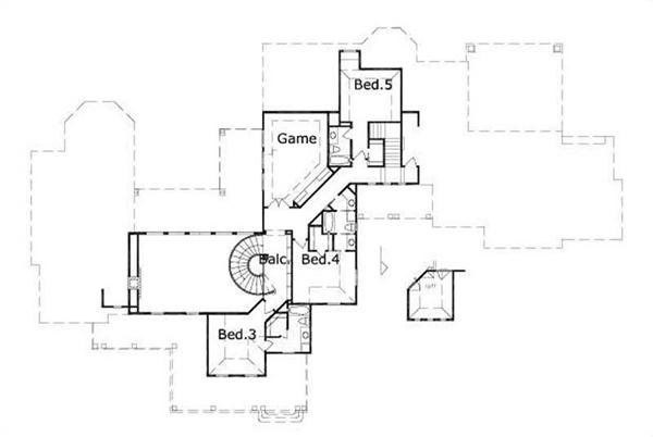 HOME PLAN NUMBER 653 SECOND STORY FLOOR PLAN