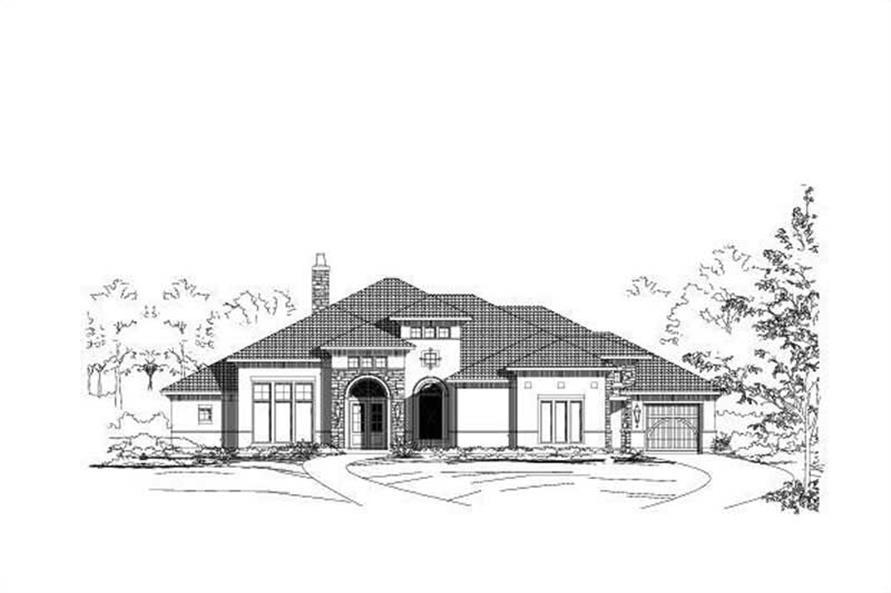3-Bedroom, 4319 Sq Ft Spanish Home Plan - 156-2422 - Main Exterior