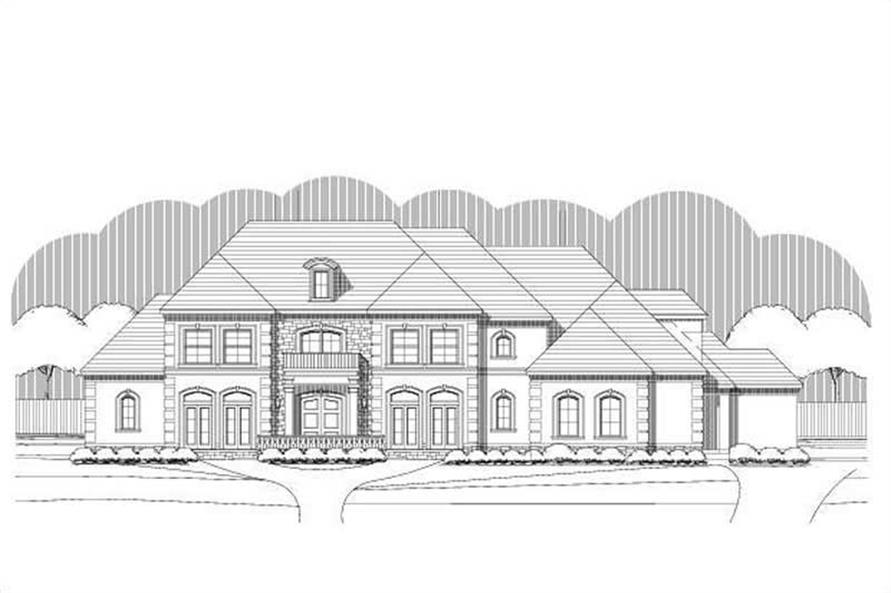 4-Bedroom, 5371 Sq Ft Luxury House Plan - 156-2440 - Front Exterior