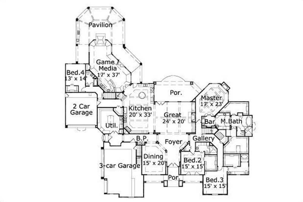 HOME PLAN NUMBER 30989 FIRST STORY FLOOR PLAN