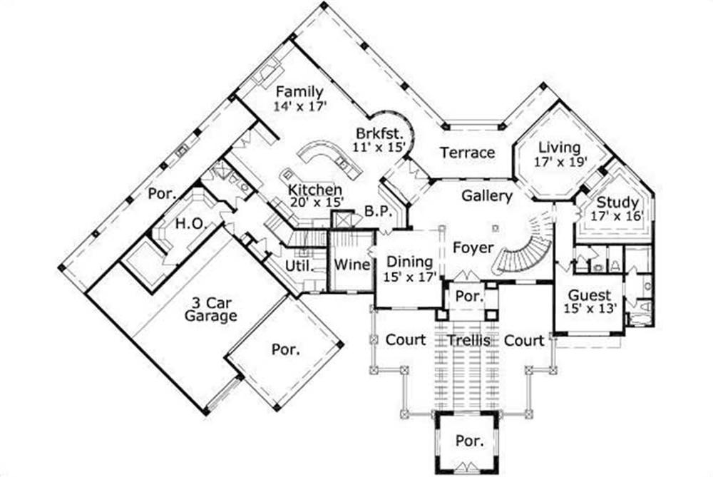 HOME PLAN NUMBER 188 FIRST STORY FLOOR PLAN