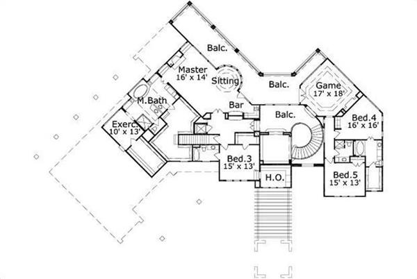 HOME PLAN NUMBER 188 SECOND STORY FLOOR PLAN
