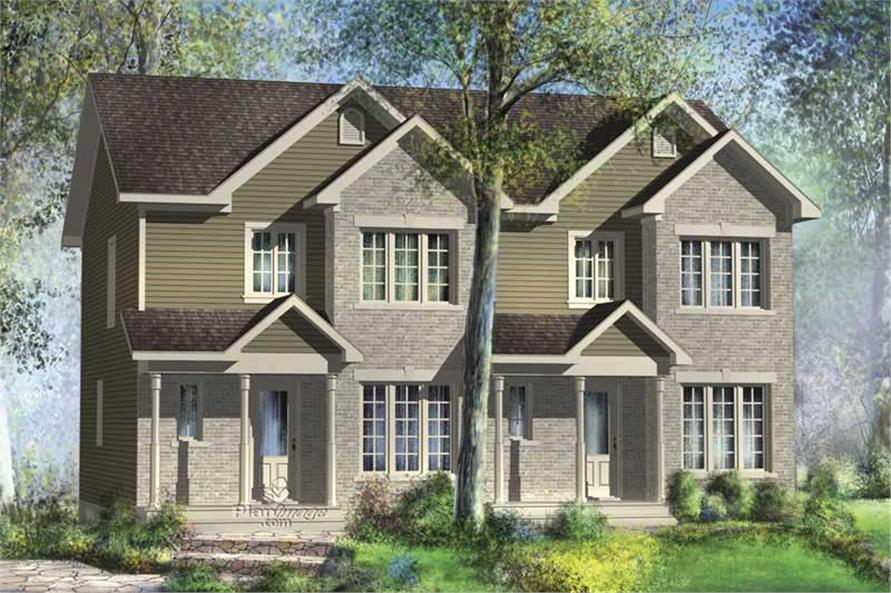 3-Bedroom, 1237 Sq Ft Multi-Unit Home Plan - 157-1000 - Main Exterior