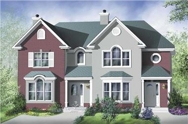 3-Bedroom, 1306 Sq Ft Multi-Unit House Plan - 157-1001 - Front Exterior