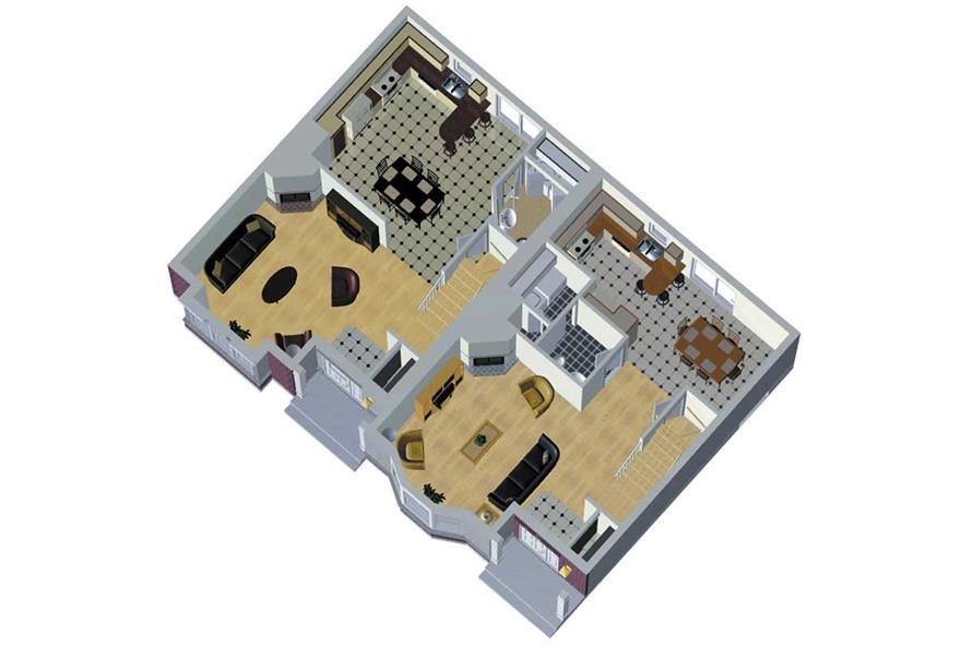 MAIN LEVEL 3D IMAGE of this 3-Bedroom,1306 Sq Ft Plan -1306