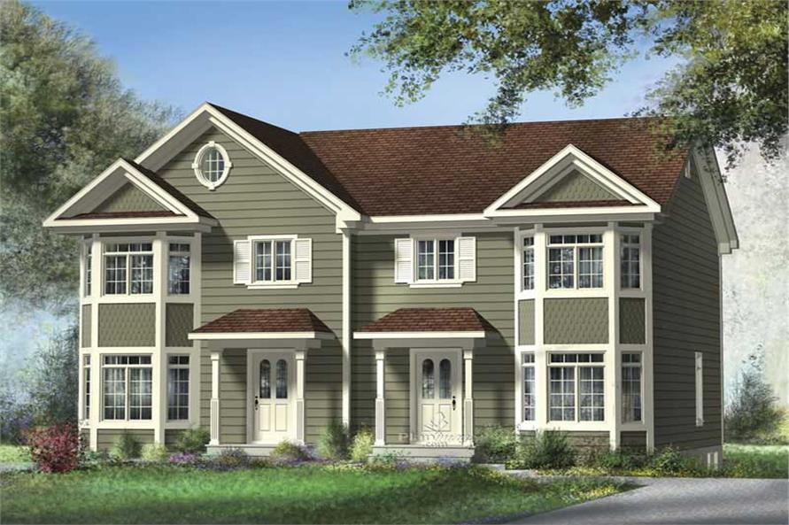 3-Bedroom, 1228 Sq Ft Multi-Unit House Plan - 157-1003 - Front Exterior