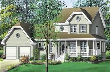 3-Bedroom, 1387 Sq Ft Multi-Level House Plan - 157-1005 - Front Exterior