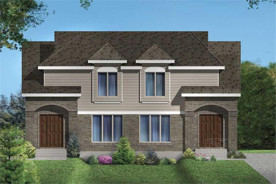 3-Bedroom, 1080 Sq Ft Multi-Unit Home Plan - 157-1008 - Main Exterior