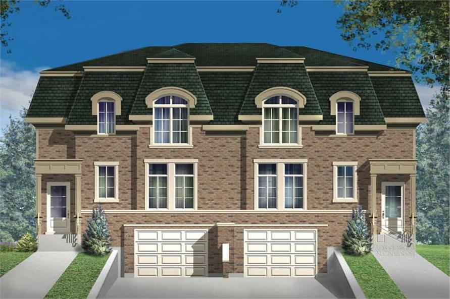 3-Bedroom, 1914 Sq Ft Multi-Unit Home Plan - 157-1009 - Main Exterior