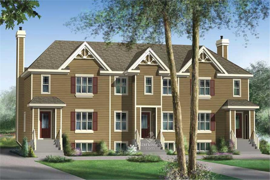 3-Bedroom, 2113 Sq Ft Multi-Unit House Plan - 157-1010 - Front Exterior