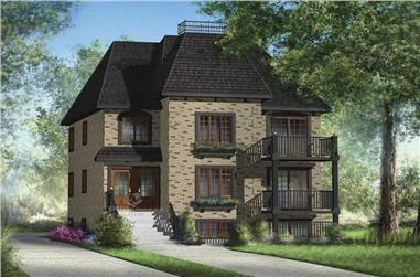 3-Bedroom, 3369 Sq Ft Multi-Level House Plan - 157-1011 - Front Exterior