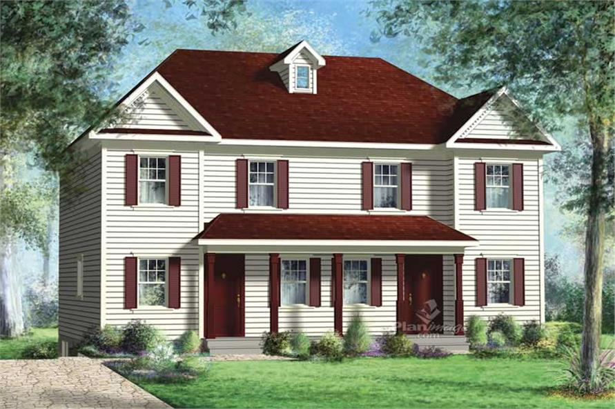 3-Bedroom, 1234 Sq Ft Multi-Unit House Plan - 157-1012 - Front Exterior