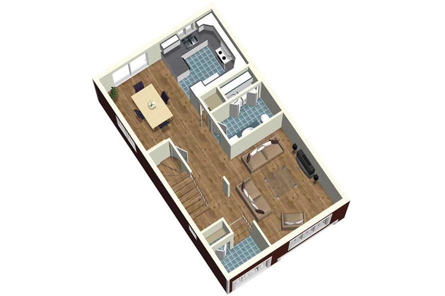 MAIN FLOOR 3D IMAGE of this 3-Bedroom,1772 Sq Ft Plan -1772