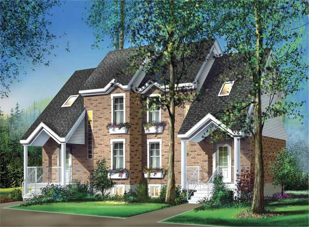 Color rendering of Multi-Unit home plan (ThePlanCollection: House Plan #157-1014)