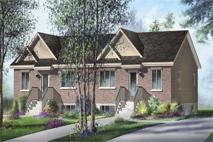 2-Bedroom, 832 Sq Ft Multi-Unit Home Plan - 157-1015 - Main Exterior