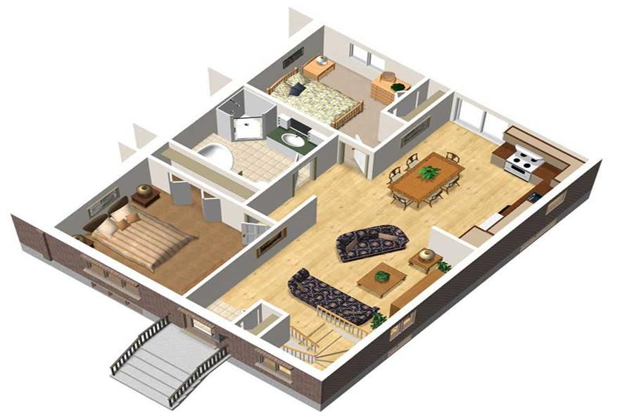 3-D FLOOR PLAN of this 2-Bedroom,832 Sq Ft Plan -832