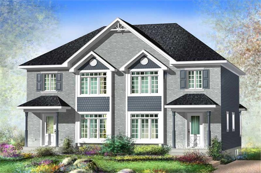 3-Bedroom, 1235 Sq Ft Multi-Unit Home Plan - 157-1019 - Main Exterior