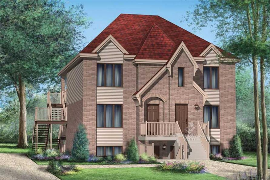 3-Bedroom, 1338 Sq Ft Multi-Level House Plan - 157-1020 - Front Exterior