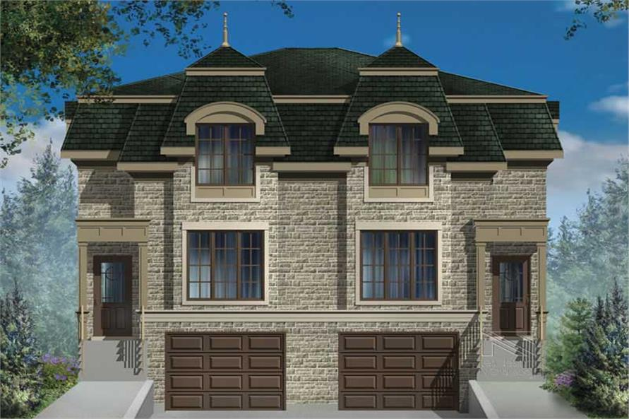 3-Bedroom, 1615 Sq Ft Multi-Unit House Plan - 157-1023 - Front Exterior