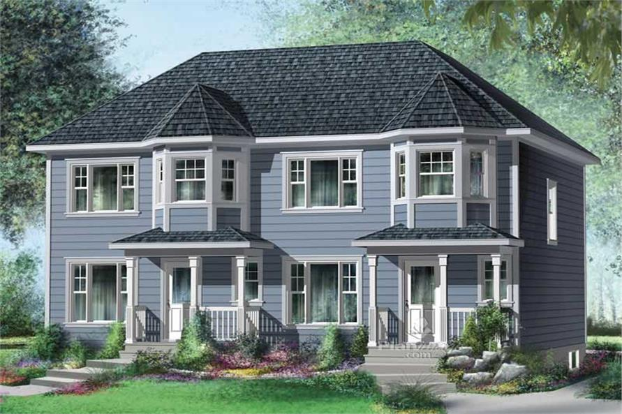 3-Bedroom, 1220 Sq Ft Multi-Unit House Plan - 157-1024 - Front Exterior