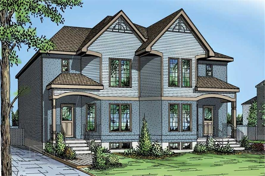 3-Bedroom, 1266 Sq Ft Multi-Unit Home Plan - 157-1030 - Main Exterior