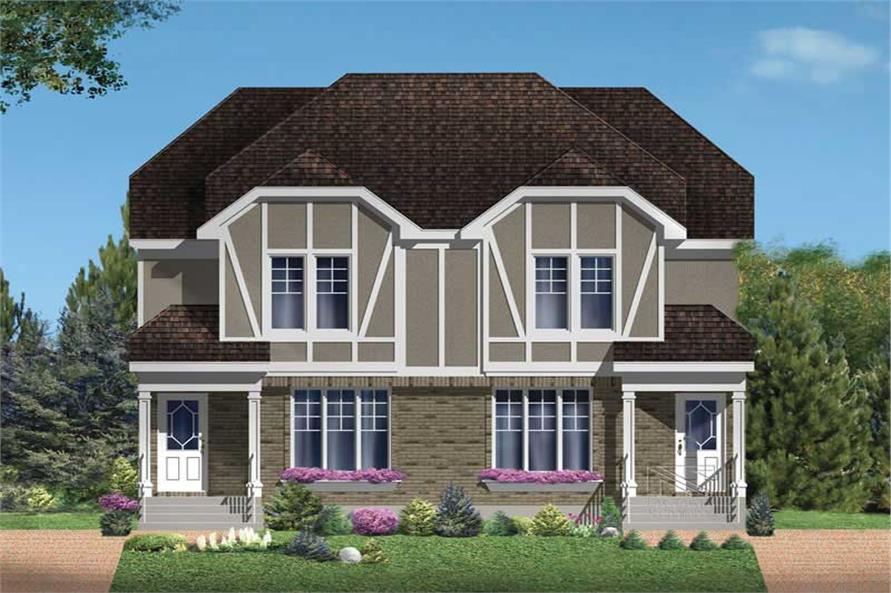 3-Bedroom, 1250 Sq Ft Multi-Unit House Plan - 157-1032 - Front Exterior