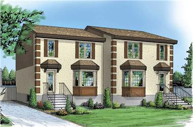 3-Bedroom, 1118 Sq Ft Multi-Unit House Plan - 157-1033 - Front Exterior