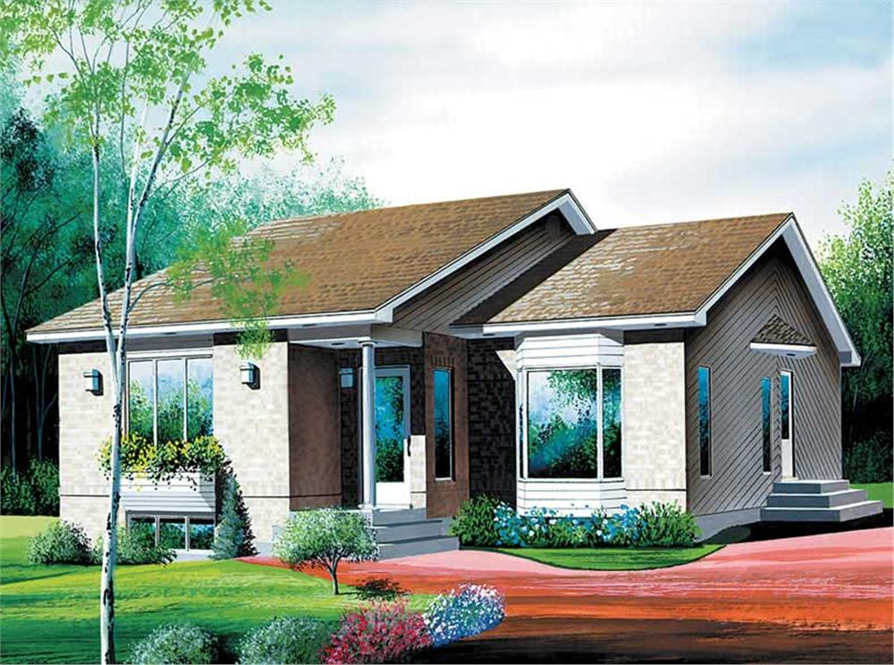 Front elevation of Ranch home (ThePlanCollection: House Plan #157-1043)