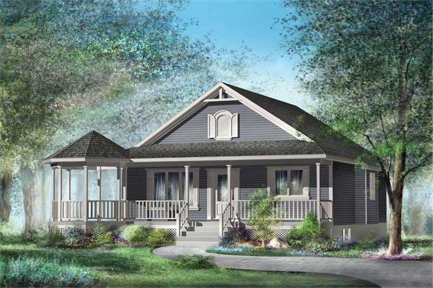 2-Bedroom, 794 Sq Ft Country House Plan - 157-1048 - Front Exterior