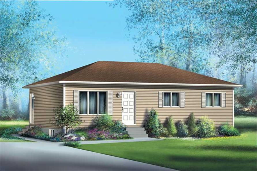 Ranch home plan 3 bedrms 1 baths 912 sq ft 157 1055 for Small ranch homes