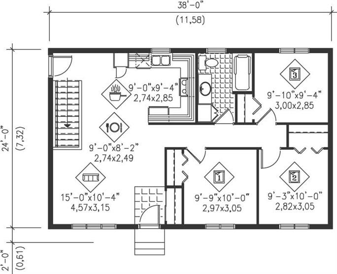 Ranch Home Plan - 3 Bedrms, 1 Baths - 912 Sq Ft - #157-1055 on ranch house landscaping, ranch house bathroom, ranch house curb appeal ideas, ranch house flooring, ranch house blueprints, ranch house elevation plans, ranch house plans with porches, ranch house kitchen design, ranch style house plans 2013, ranch house plans awesome, ranch house lighting, ranch house furniture, ranch house interior design, ranch house foundations,