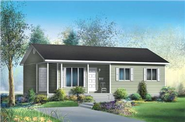 3-Bedroom, 941 Sq Ft Country House Plan - 157-1069 - Front Exterior