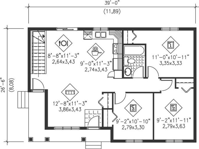 Easy Home Plans country floor plan - 3 bedrms, 1 baths - 941 sq ft - #157-1069