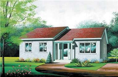 2-Bedroom, 956 Sq Ft Bungalow Home Plan - 157-1073 - Main Exterior
