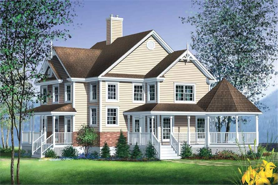 3-Bedroom, 2228 Sq Ft Country House Plan - 157-1088 - Front Exterior