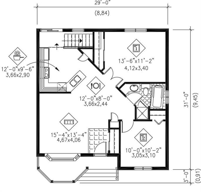 ... Floor Plan First Story Of Bungalow Plan #157 1141
