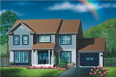 3-Bedroom, 2080 Sq Ft Colonial House Plan - 157-1199 - Front Exterior