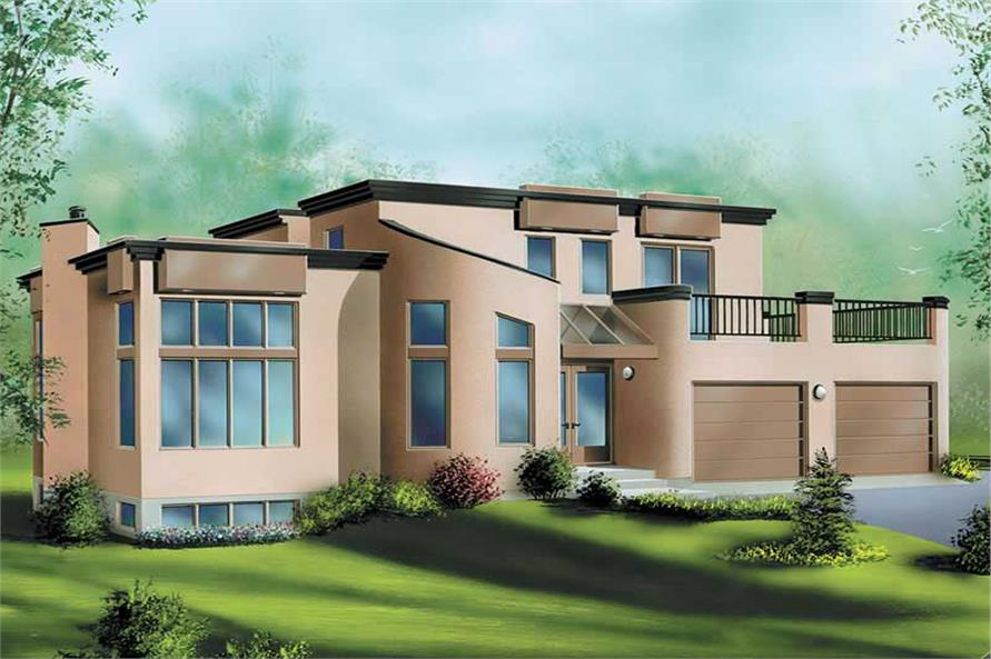3-Bedroom, 1865 Sq Ft Modern Home Plan - 157-1208 - Main Exterior