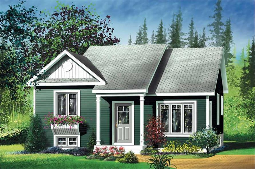 2-Bedroom, 1020 Sq Ft Bungalow Home Plan - 157-1238 - Main Exterior