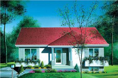 3-Bedroom, 1108 Sq Ft Bungalow House Plan - 157-1243 - Front Exterior