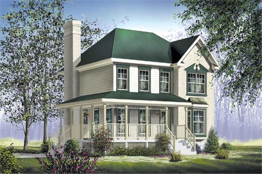 Front elevation of Farmhouse home (ThePlanCollection: House Plan #157-1276)