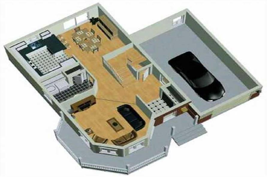 3-D MAIN FLOOR PLAN of this 3-Bedroom,1496 Sq Ft Plan -1496