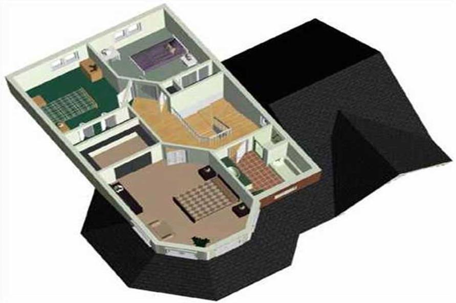 3-D UPPER FLOOR PLAN of this 3-Bedroom,1496 Sq Ft Plan -1496