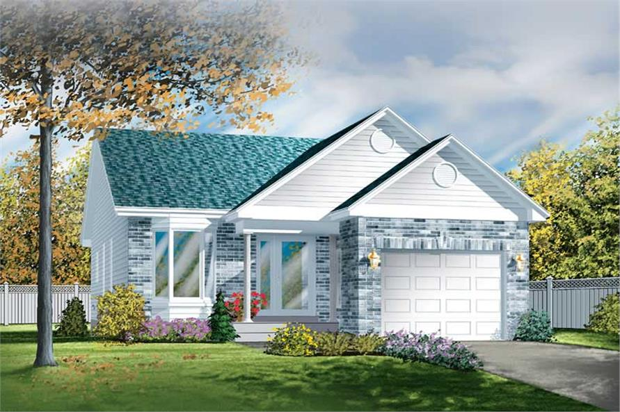 2-Bedroom, 1026 Sq Ft Small House Plans - 157-1291 - Main Exterior