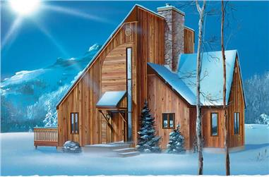 1-Bedroom, 1092 Sq Ft Log Cabin Home Plan - 157-1295 - Main Exterior