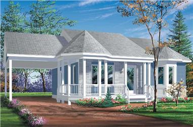 2-Bedroom, 923 Sq Ft Country Home Plan - 157-1308 - Main Exterior